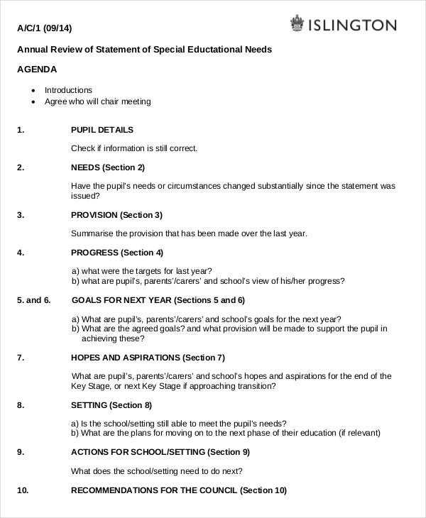annual review agenda template