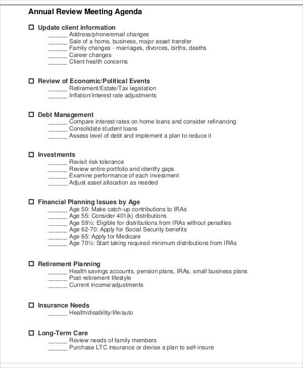 annual review meeting agenda template