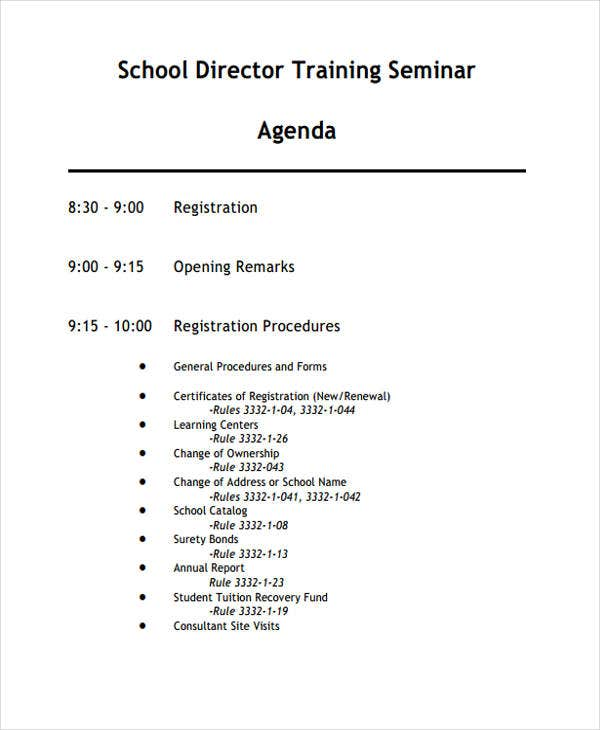 Training Seminar Agenda