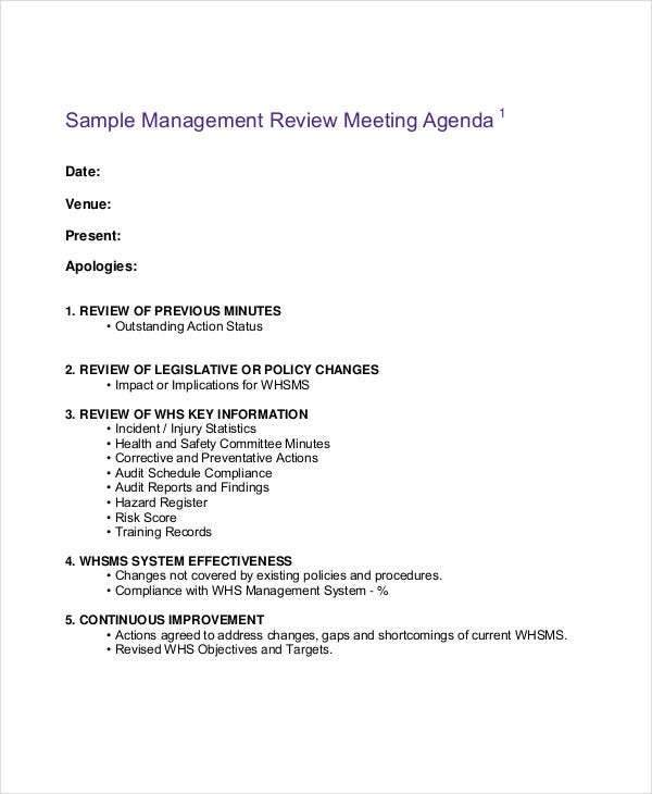 Management Agenda Example  Free Sample Example Format Download