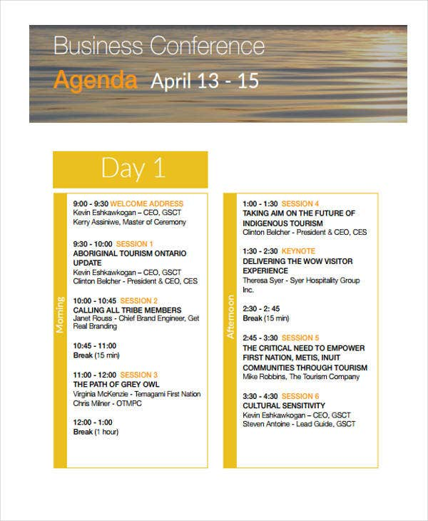 business conference agenda