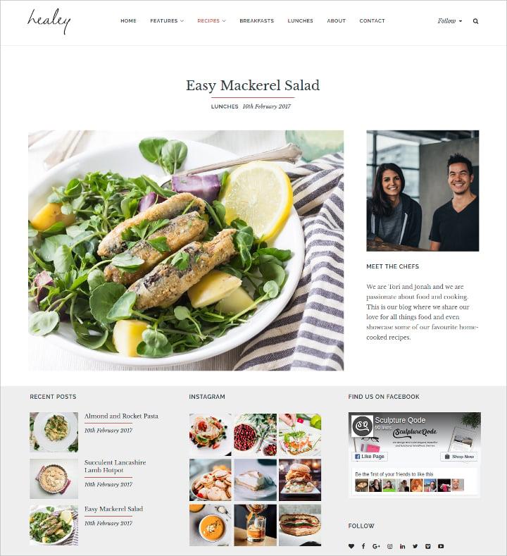 creative food recipes website template