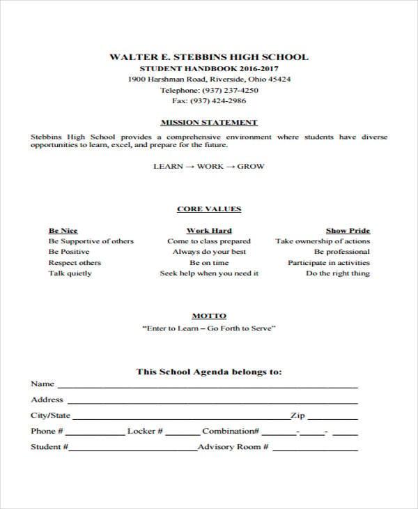 high school agenda1