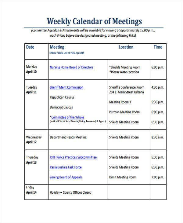 Weekly Calendar of Meetings Agenda