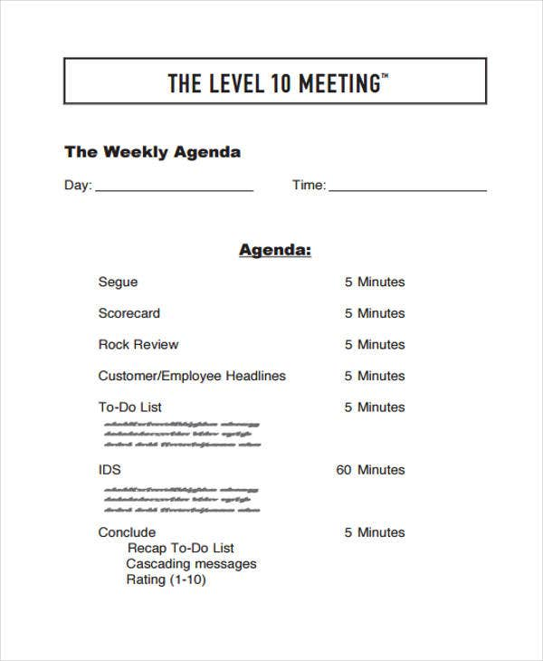 weekly meeting agenda