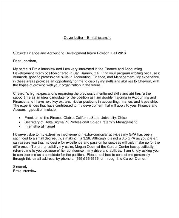 Internship Email Cover Letter Accounting