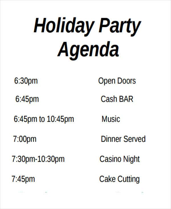 Holiday Party Agenda