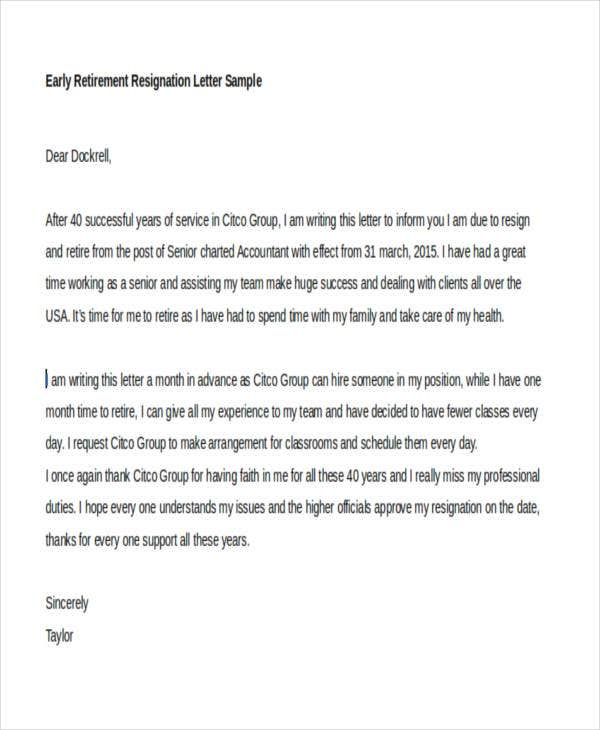 31 resignation letter templates and examples free premium templates example of early retirement resignation expocarfo Images