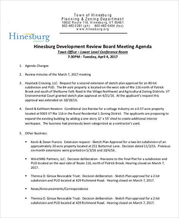 development review board meeting agenda