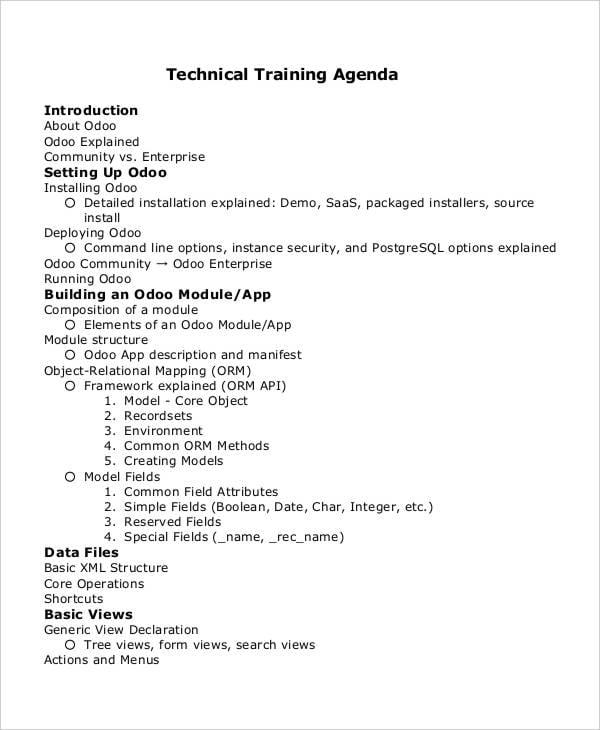 technical training agenda1