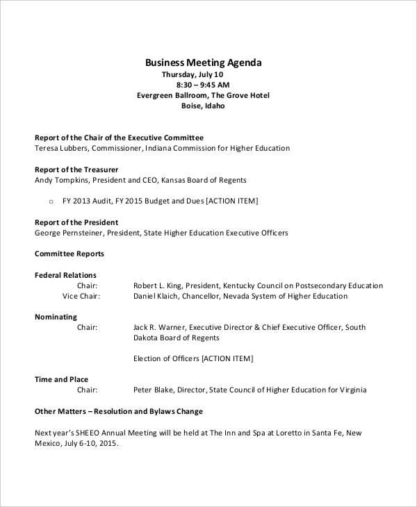 business development meeting agenda