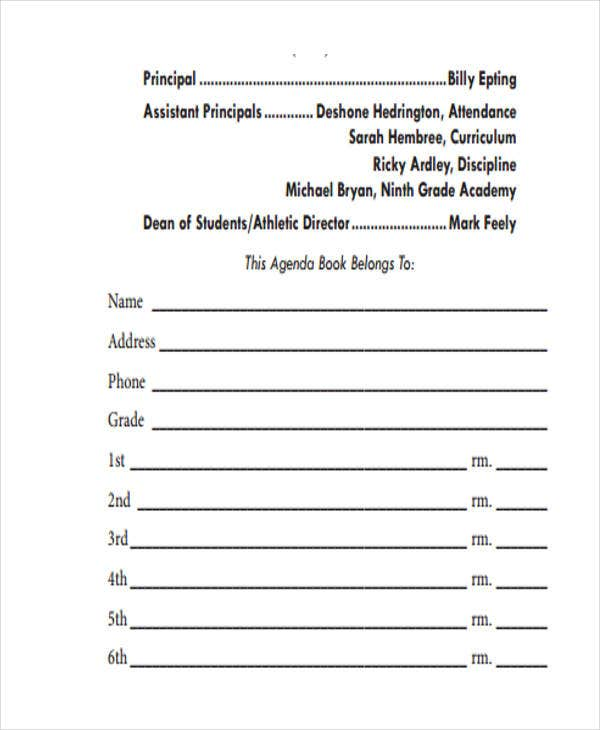 Student Book Planner Agenda