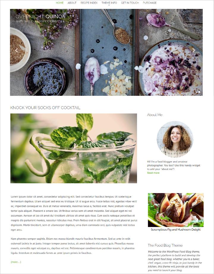 food recipes blog templates