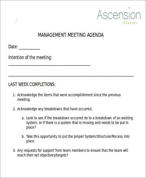 weekly management meeting agenda example