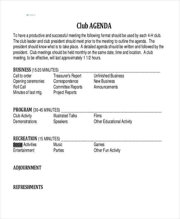 Social Club Agenda