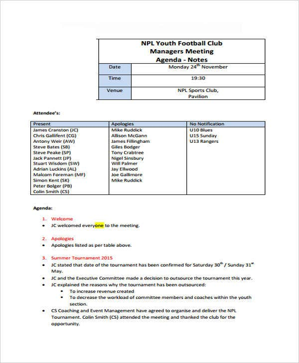 Football Club Managers Meeting Agenda
