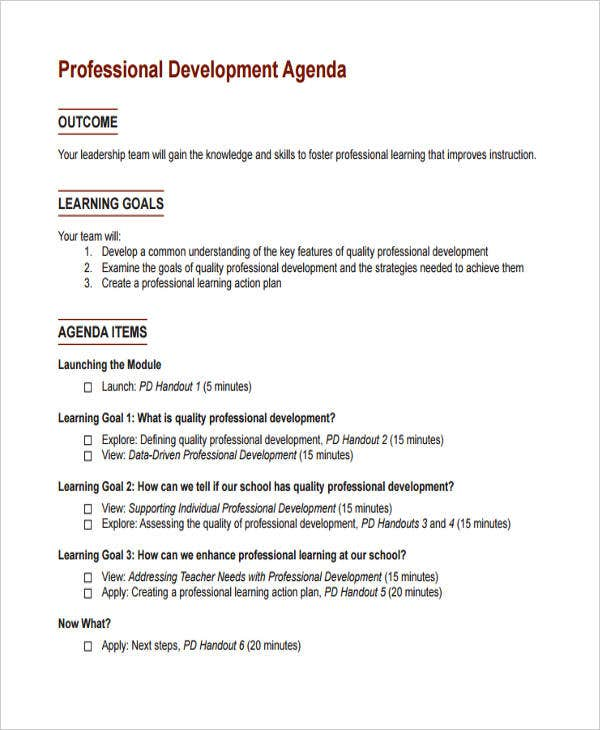 Professional Agenda .  Creating An Agenda Template