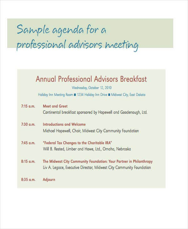 Professional Advisors Meeting Agenda