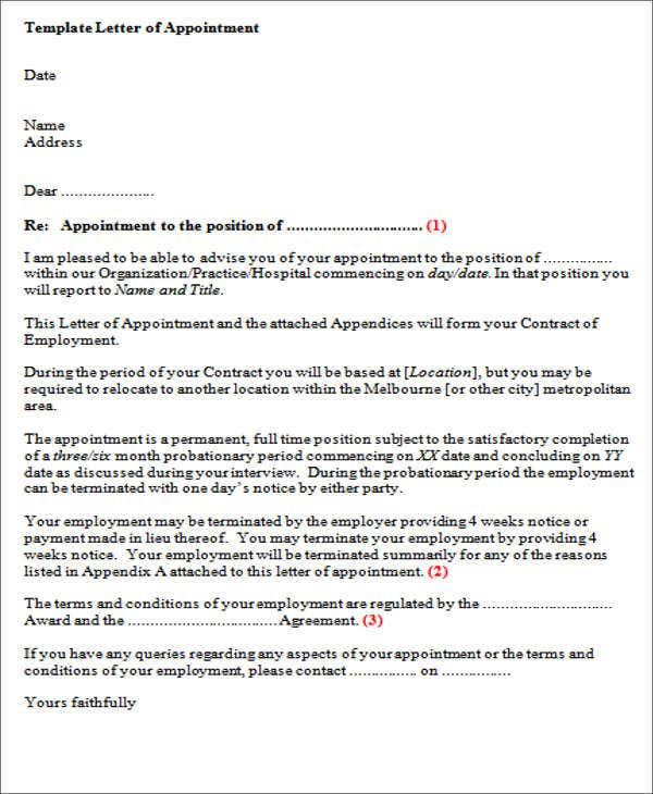 40 offer letter format templates pdf doc free for Permanent contract of employment template