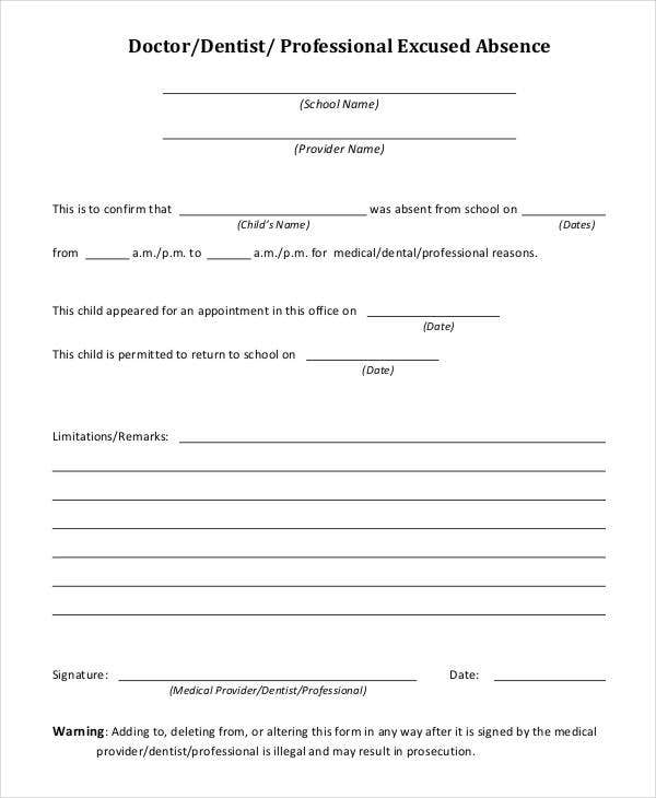 Excused absence template 28 images doctors excuse for for School absence note template free