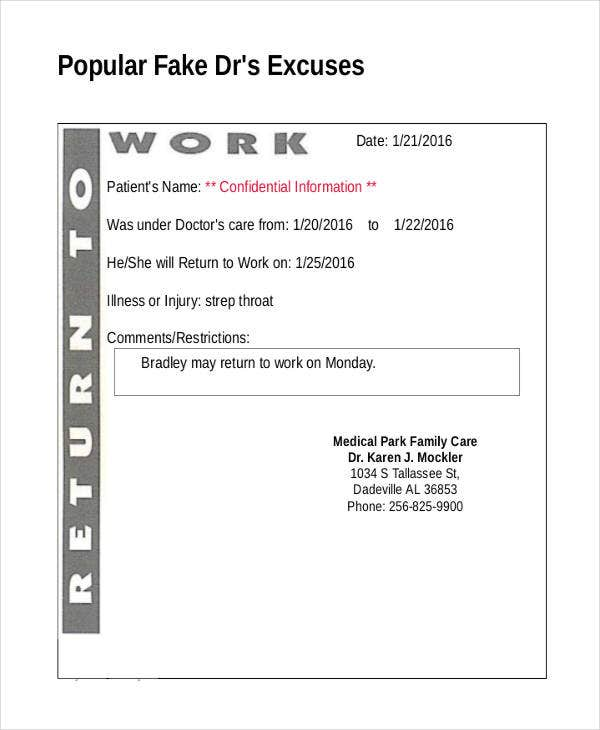 14 doctor note templates free premium templates for Fake dr note template free