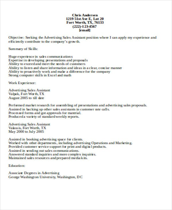 advertising sales assistant resume1
