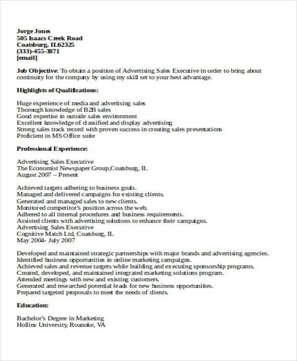 advertising sales executive resume