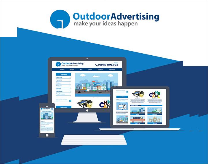 outdoor advertising flat ui design