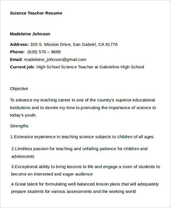 Teacher Resumes. Science Teacher Resume