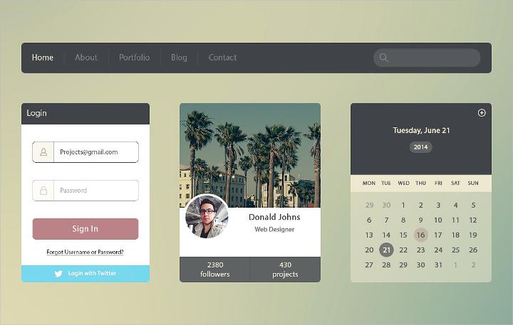 flat ui kit web design