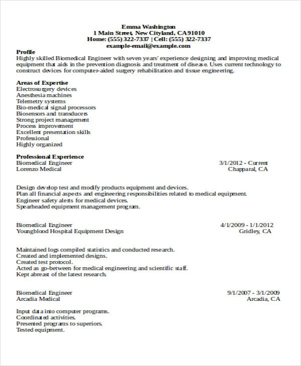 professional biomedical engineering resume