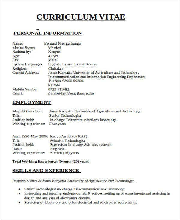 47 engineering resume samples pdf doc free premium for Sample resume for diploma in mechanical engineering