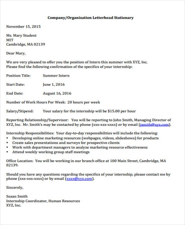 internship job offer letter template