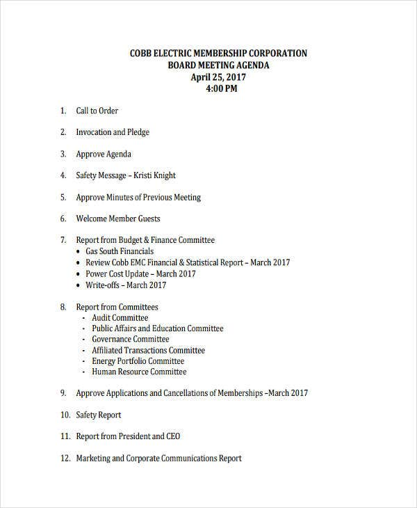 Corporate Board Meeting Agenda
