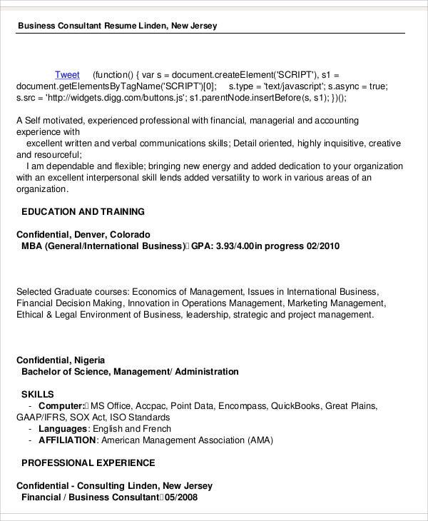 business consultant resume in pdf - Business Consultant Resume Sample