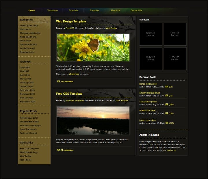 design blog free website template1