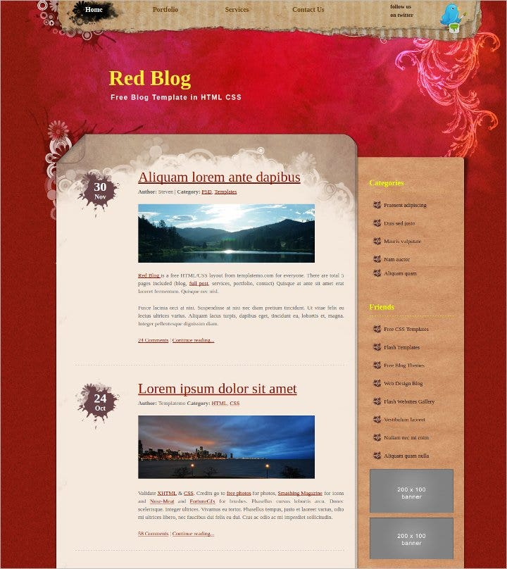 free blog website template1