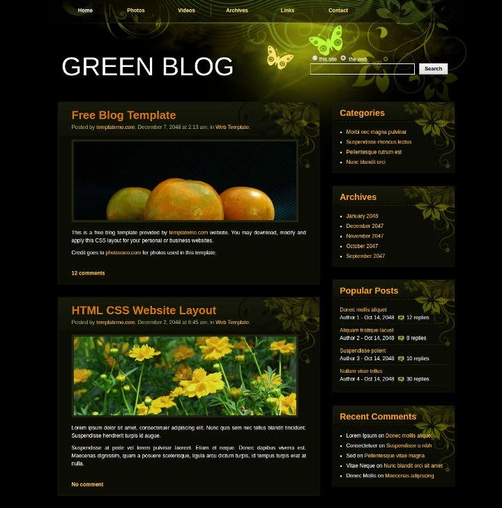 green-blog-free-website-theme