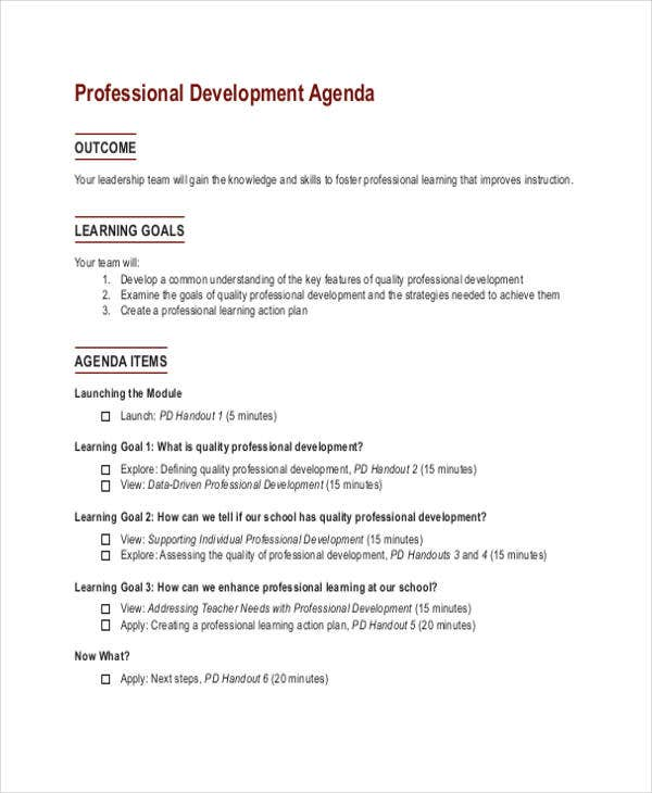 Professional Development Agenda
