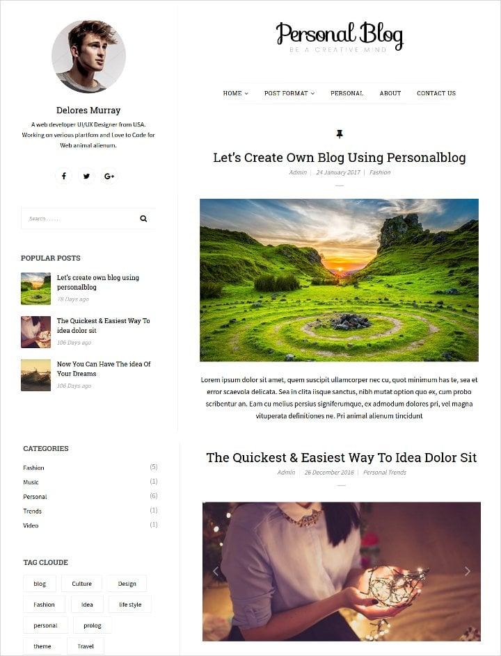 personal responsive blog template1