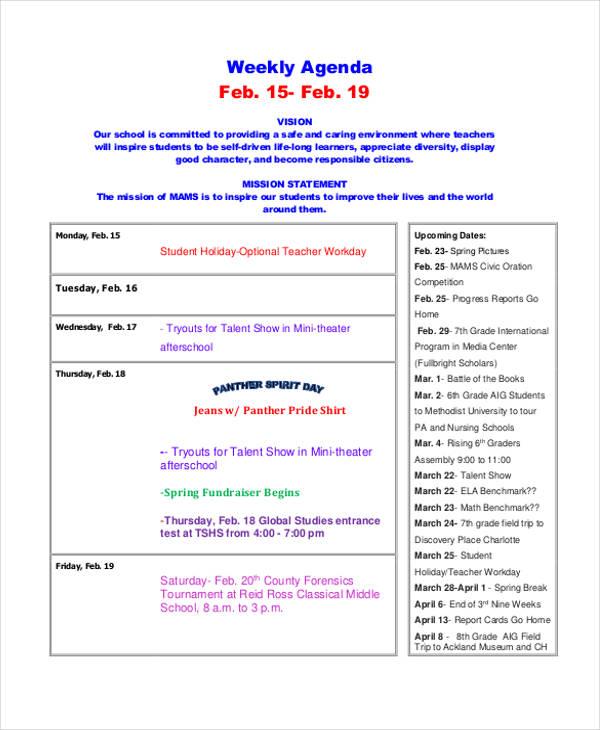 free printable weekly agenda1