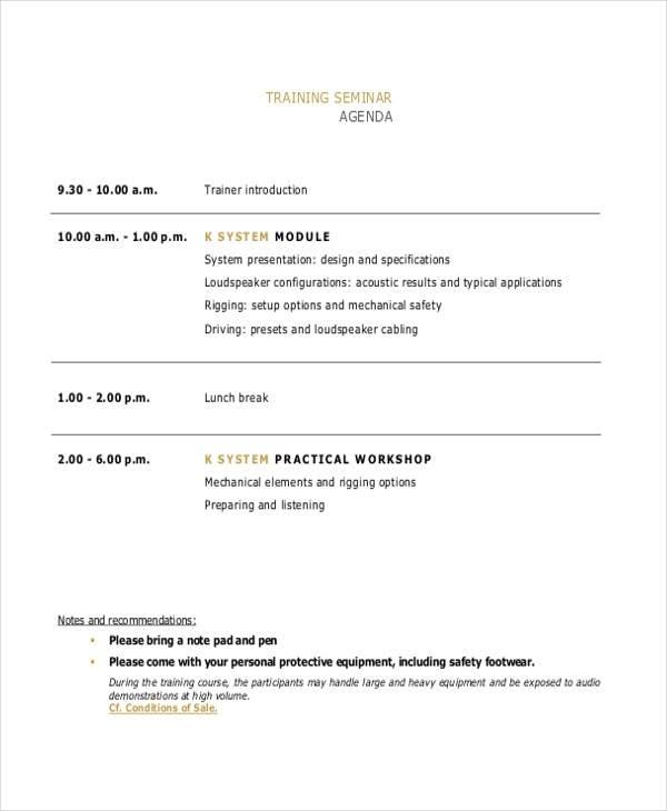 training seminar agenda2