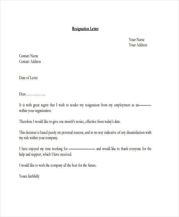 resignation letter format for personal reason in pdf