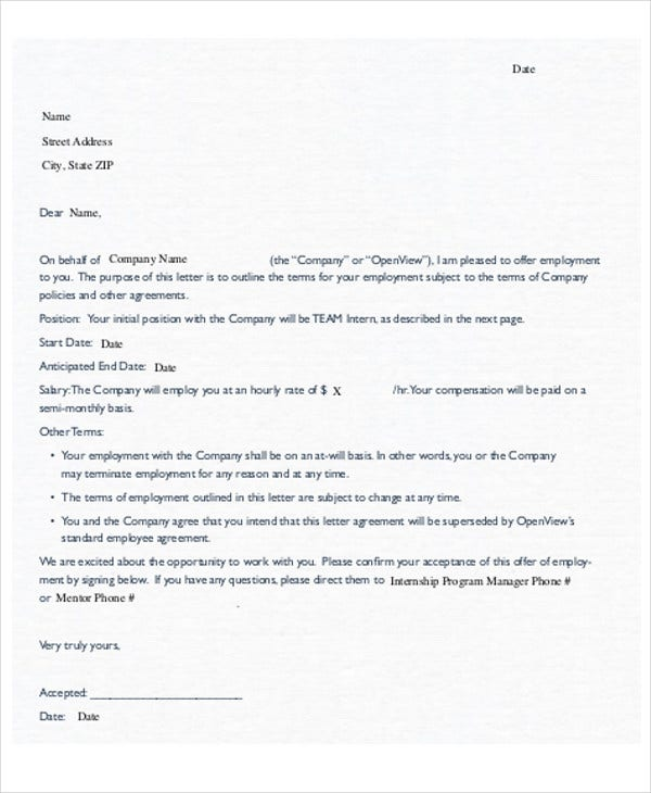 42 Sample Offer Letter Template Free Premium Templates