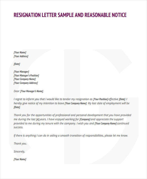 31 Resignation Letters in PDF – Resignation Letter in It Company