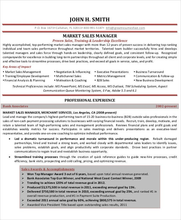 Professional Sales Manager Resume  Professional Sales Resume