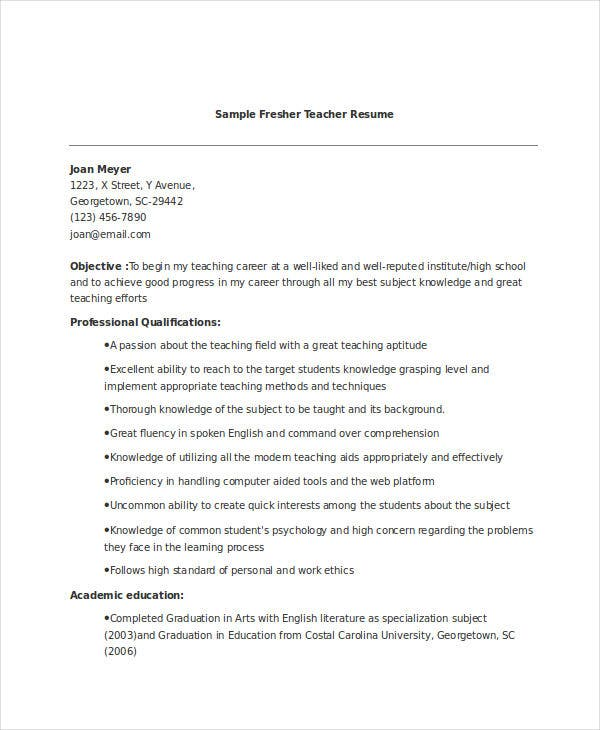 fresher teacher resume