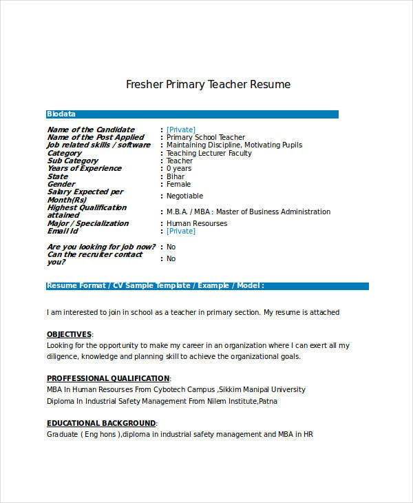 Sample Resume Format For Fresher Lecturer
