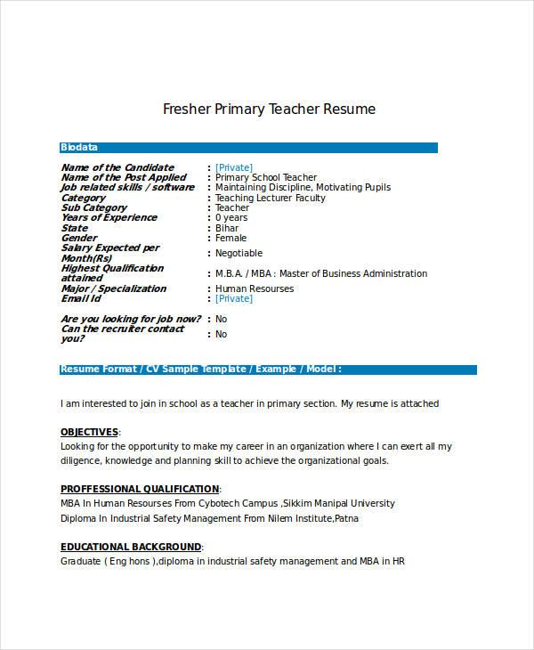Resume For Computer Teachers Freshers