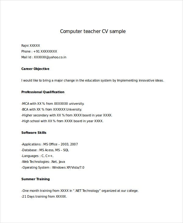 fresher computer teacher resume
